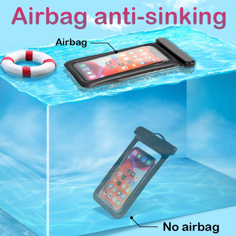 Floating Airbag Waterproof Swim Bag Phone Case For iphone 11 Pro Max Samsung Xiaomi mi Note 9 Pro Redmi Huawei P30 20 Lite Cover Phone Pouches  4