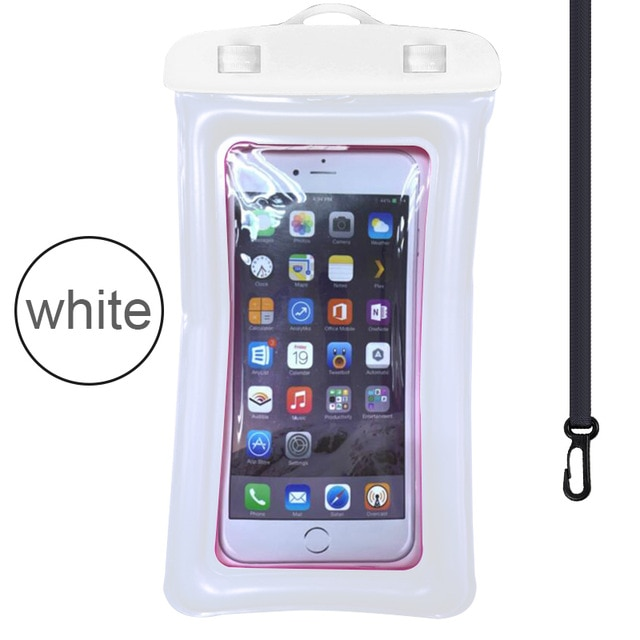 Floating Airbag Waterproof Swim Bag Phone Case For iphone 11 Pro Max Samsung Xiaomi mi Note 9 Pro Redmi Huawei P30 20 Lite Cover Phone Pouches  – White 12