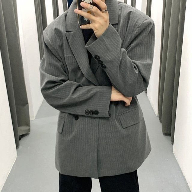 IEFB /men's wear 2021 spring vintage new Stripe casual oversize Suit for Male Loose Coat fashion Trend Handsome blazers 9Y978 Blazers  – gray 8