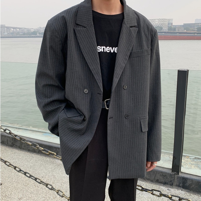 IEFB /men's wear 2021 spring vintage new Stripe casual oversize Suit for Male Loose Coat fashion Trend Handsome blazers 9Y978 Blazers  4