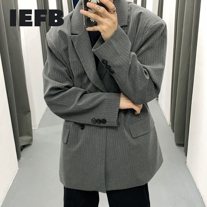 IEFB /men's wear 2021 spring vintage new Stripe casual oversize Suit for Male Loose Coat fashion Trend Handsome blazers 9Y978 Blazers  1
