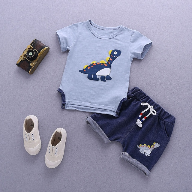 Kids Clothes For Boys Clothing Sets 2021 Summer Toddler Boys Clothes Set Outfits Boys Sport Suit Children Clothing 1 2 3 4 Year Clothing Sets  – Sky blue 9