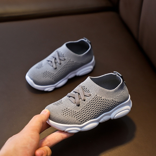 Kids Shoes Anti slip Soft Rubber Bottom Baby Sneaker Casual Flat Sneakers Shoes Children size Kid Girls Boys Sports Shoes|Sneakers| – Gray 9