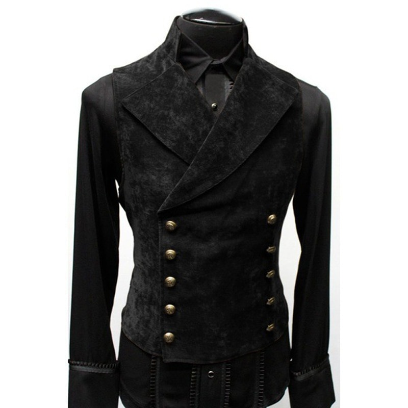 Mens Gothic Steampunk Velvet Vest Retro Medieval Victorian Waistcoat Men Stand Collar Double Breasted Stage Cosplay Prom Costume Vests  2