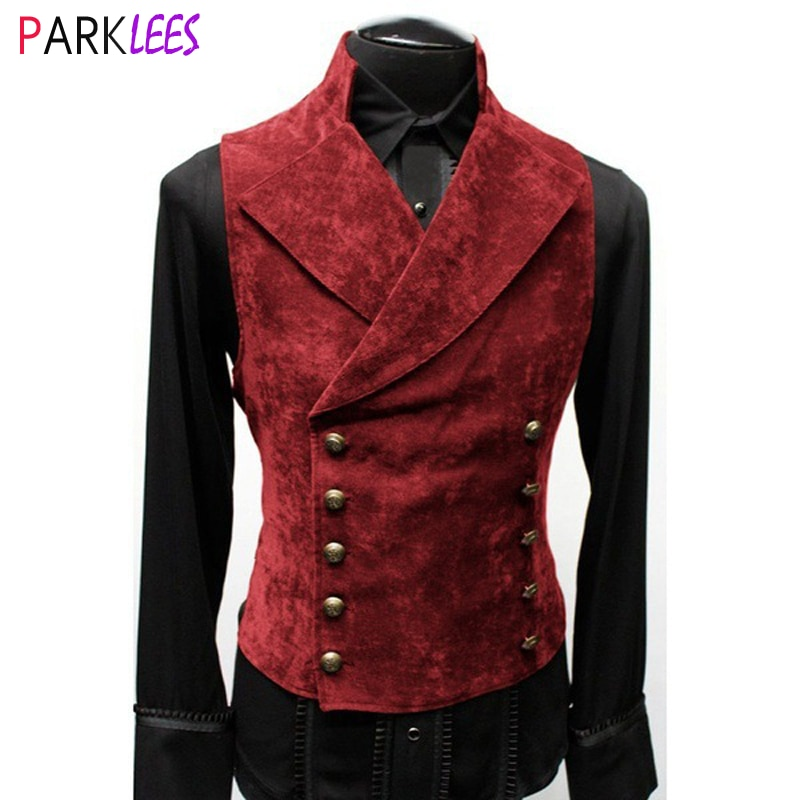 Mens Gothic Steampunk Velvet Vest Retro Medieval Victorian Waistcoat Men Stand Collar Double Breasted Stage Cosplay Prom Costume Vests  1