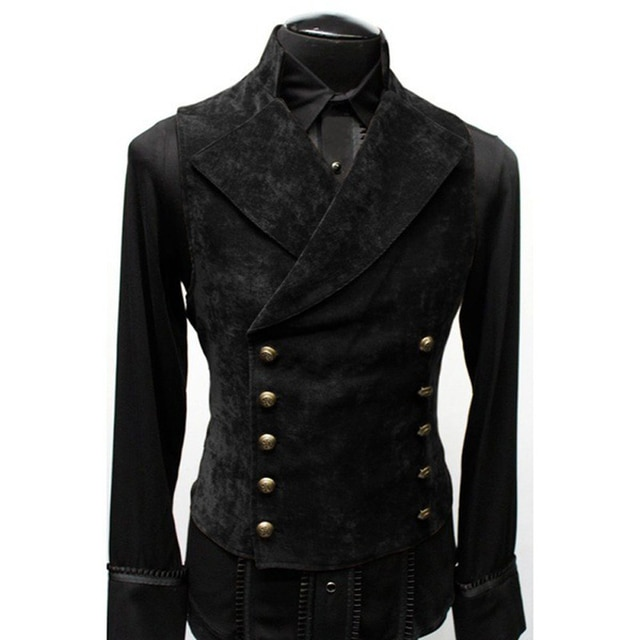 Mens Gothic Steampunk Velvet Vest Retro Medieval Victorian Waistcoat Men Stand Collar Double Breasted Stage Cosplay Prom Costume Vests  – Black 7