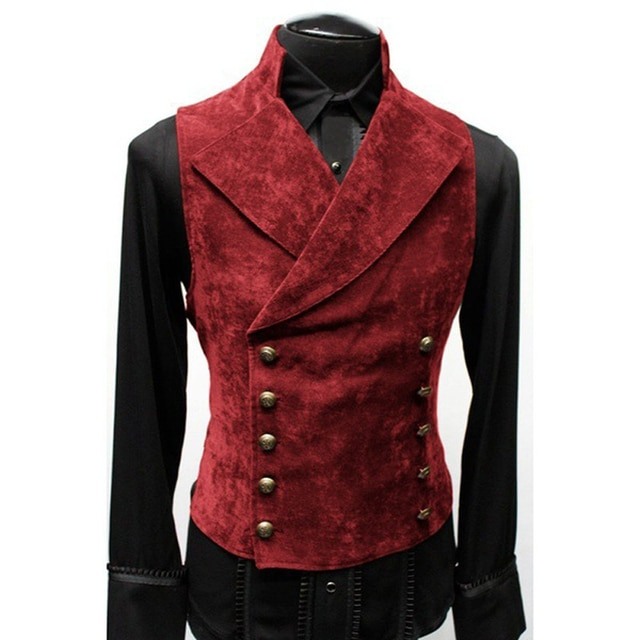 Mens Gothic Steampunk Velvet Vest Retro Medieval Victorian Waistcoat Men Stand Collar Double Breasted Stage Cosplay Prom Costume Vests  – Red 8