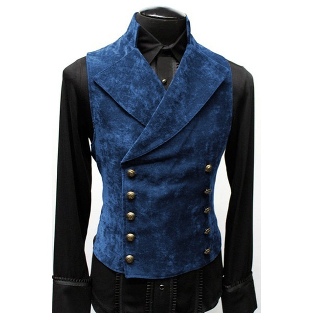 Mens Gothic Steampunk Velvet Vest Retro Medieval Victorian Waistcoat Men Stand Collar Double Breasted Stage Cosplay Prom Costume Vests  – Blue 9