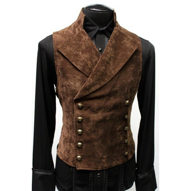 Mens Gothic Steampunk Velvet Vest Retro Medieval Victorian Waistcoat Men Stand Collar Double Breasted Stage Cosplay Prom Costume Vests  – Brown 6