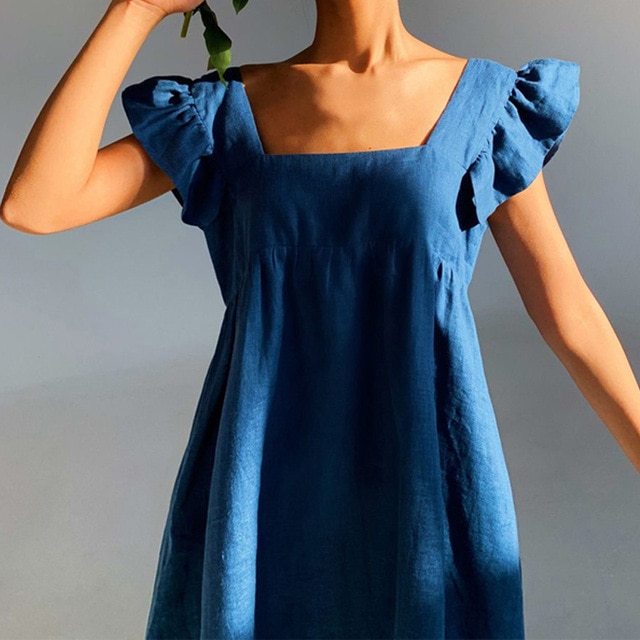 Moarcho Casual Basic Solid Square Collar Backless Mini Dress Female Sweet Ruffled Raglan Sleeve Loose Ball GownDress 2021 Summer|Dresses| – Blue 8