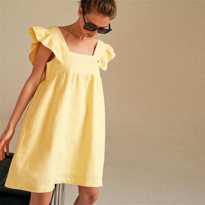 Moarcho Casual Basic Solid Square Collar Backless Mini Dress Female Sweet Ruffled Raglan Sleeve Loose Ball GownDress 2021 Summer|Dresses| 3