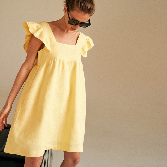 Moarcho Casual Basic Solid Square Collar Backless Mini Dress Female Sweet Ruffled Raglan Sleeve Loose Ball GownDress 2021 Summer|Dresses| – Yellow 10