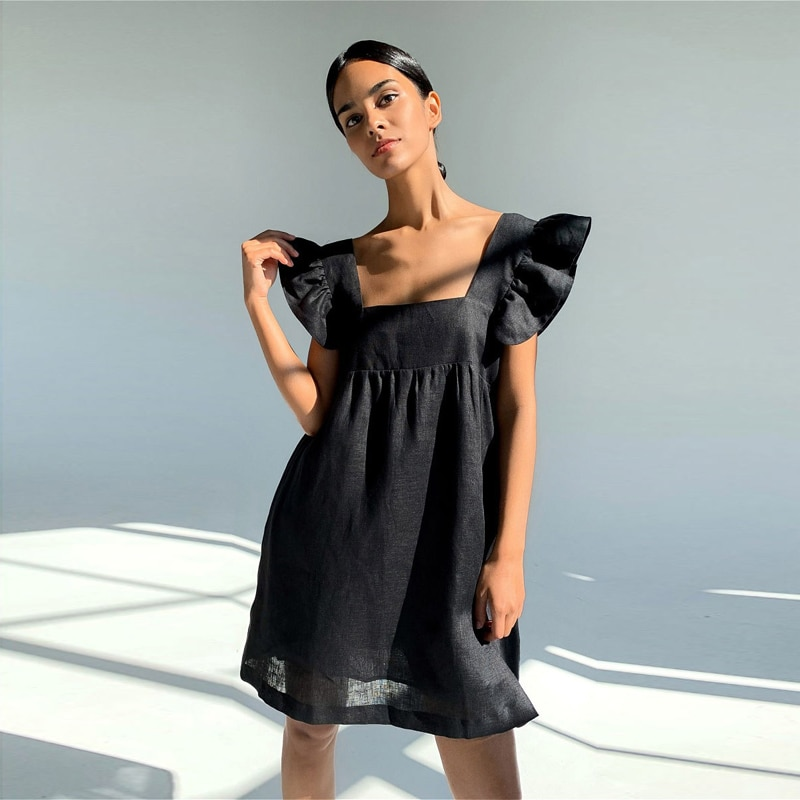 Moarcho Casual Basic Solid Square Collar Backless Mini Dress Female Sweet Ruffled Raglan Sleeve Loose Ball GownDress 2021 Summer|Dresses| 1