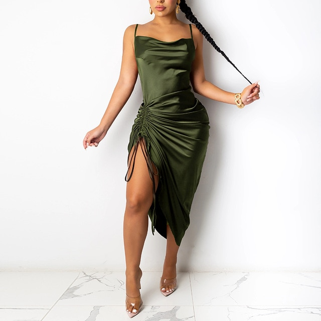 NewAsia Ruched Satin Summer Dress Drawstring Spaghetti Straps Cowl Neck Backless Long Dresses for Women Party Sexy Vestidos 2020|Dresses| – Green 10