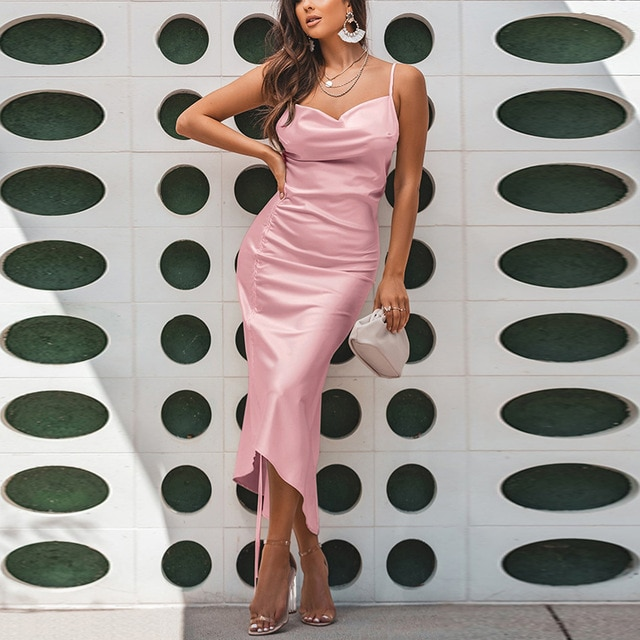 NewAsia Ruched Satin Summer Dress Drawstring Spaghetti Straps Cowl Neck Backless Long Dresses for Women Party Sexy Vestidos 2020|Dresses| – Pink 11