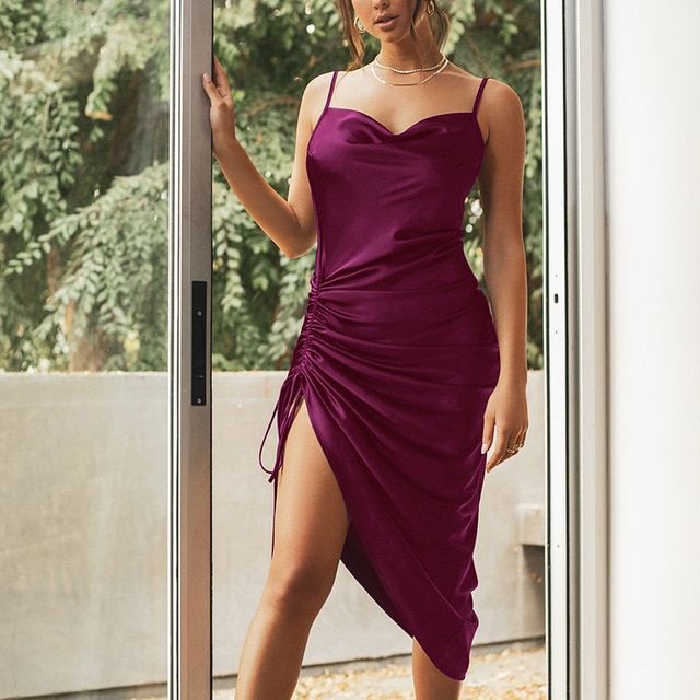 NewAsia Ruched Satin Summer Dress Drawstring Spaghetti Straps Cowl Neck Backless Long Dresses for Women Party Sexy Vestidos 2020|Dresses| – Purple 12
