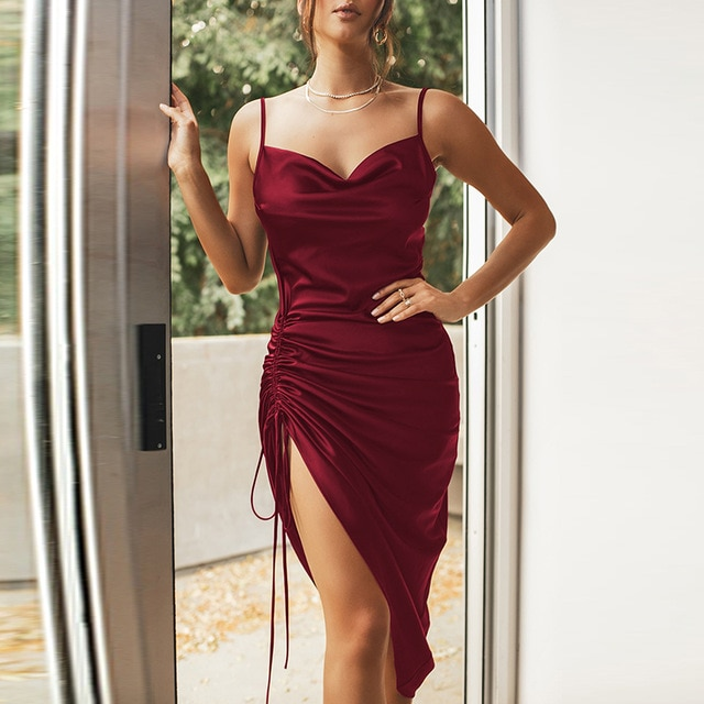 NewAsia Ruched Satin Summer Dress Drawstring Spaghetti Straps Cowl Neck Backless Long Dresses for Women Party Sexy Vestidos 2020|Dresses| – Red 15