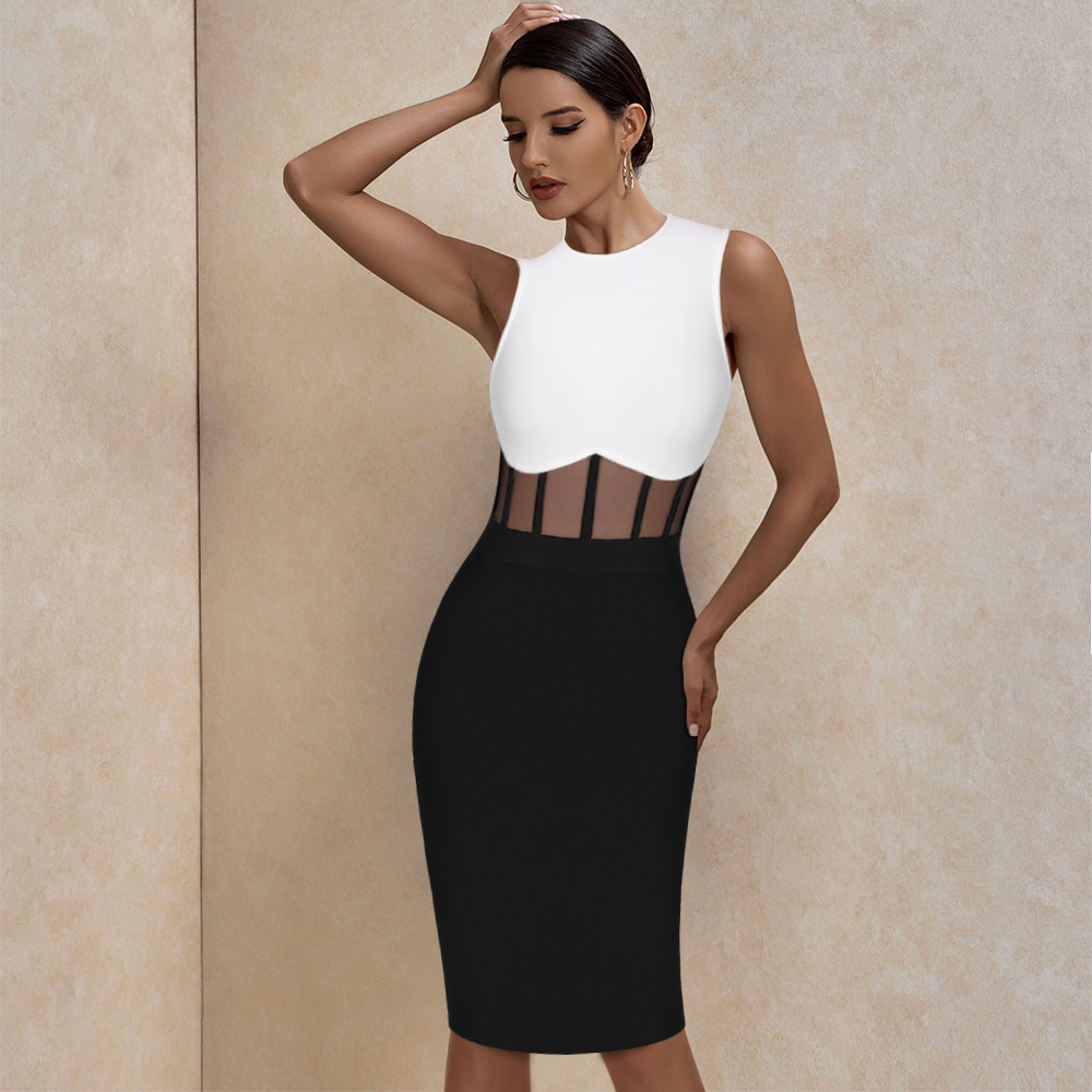 Ocstrade Bandage Dress 2021 Black White Bandage Dress Bodycon Summer Mesh Insert Sexy Party Dress Club Outfits for Women Dresses  2