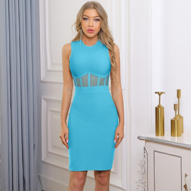 Ocstrade Bandage Dress 2021 Black White Bandage Dress Bodycon Summer Mesh Insert Sexy Party Dress Club Outfits for Women Dresses  – Sky Blue 8