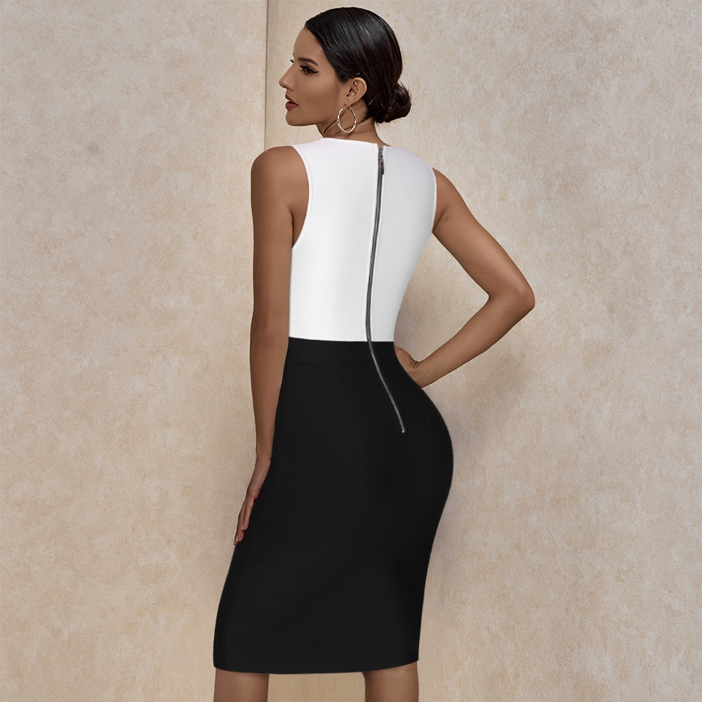 Ocstrade Bandage Dress 2021 Black White Bandage Dress Bodycon Summer Mesh Insert Sexy Party Dress Club Outfits for Women Dresses  3