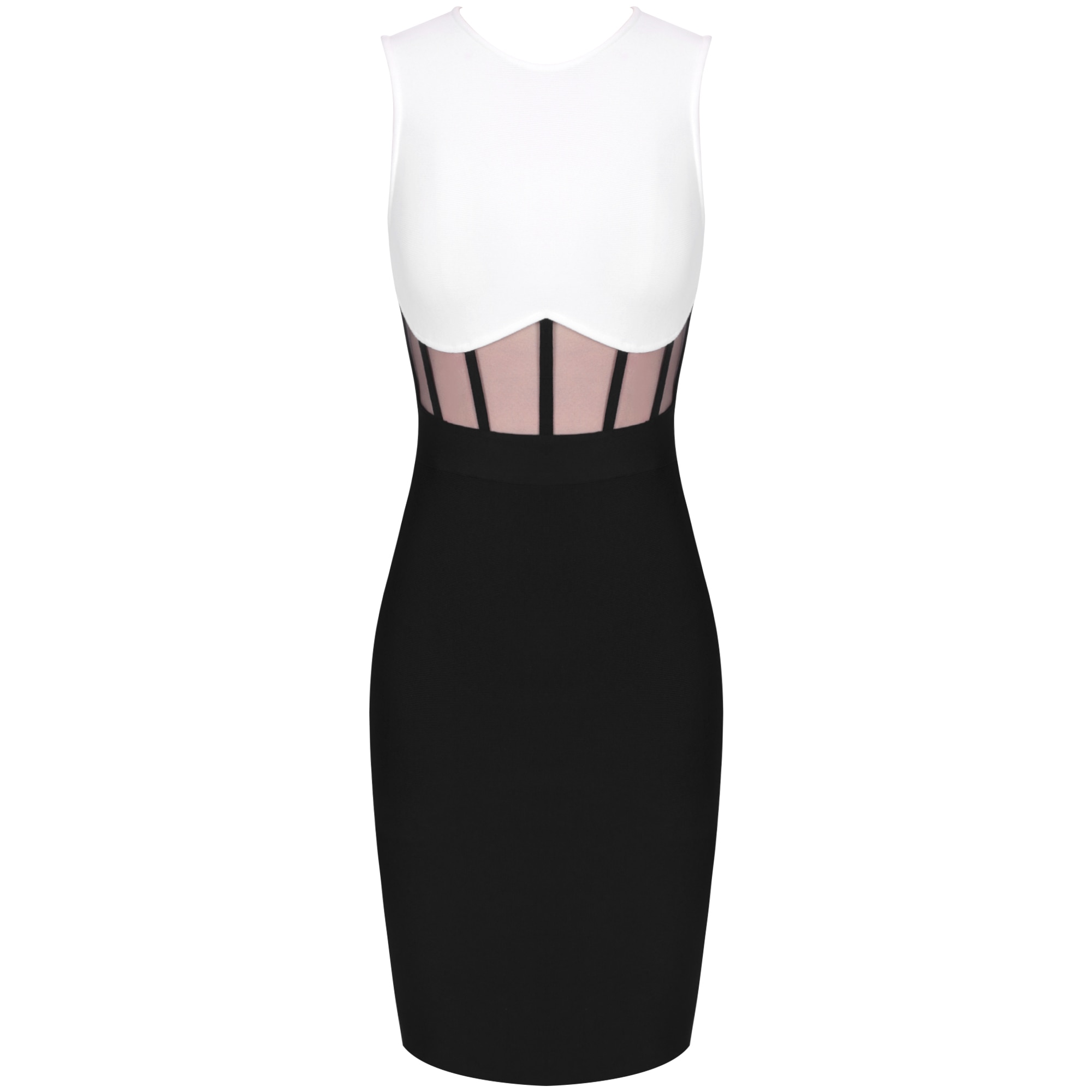 Ocstrade Bandage Dress 2021 Black White Bandage Dress Bodycon Summer Mesh Insert Sexy Party Dress Club Outfits for Women Dresses  5