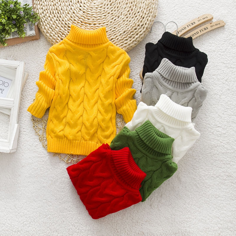 PHILOLOGY 2T 8T pure color winter boy girl kid thick Knitted bottoming turtleneck shirts solid high collar pullover sweater knitted kids pullover sweater boy sweaters knitgirls kids sweater 2