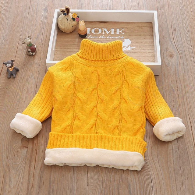 PHILOLOGY 2T 8T pure color winter boy girl kid thick Knitted bottoming turtleneck shirts solid high collar pullover sweater knitted kids pullover sweater boy sweaters knitgirls kids sweater – plush inside gold 8