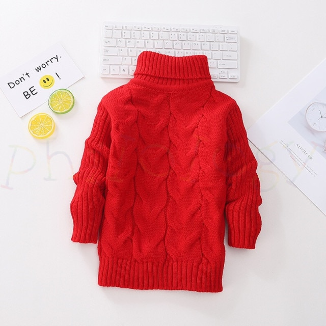 PHILOLOGY 2T 8T pure color winter boy girl kid thick Knitted bottoming turtleneck shirts solid high collar pullover sweater knitted kids pullover sweater boy sweaters knitgirls kids sweater – Single layer red 17