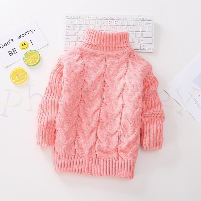 PHILOLOGY 2T 8T pure color winter boy girl kid thick Knitted bottoming turtleneck shirts solid high collar pullover sweater knitted kids pullover sweater boy sweaters knitgirls kids sweater – Single layer pink 18