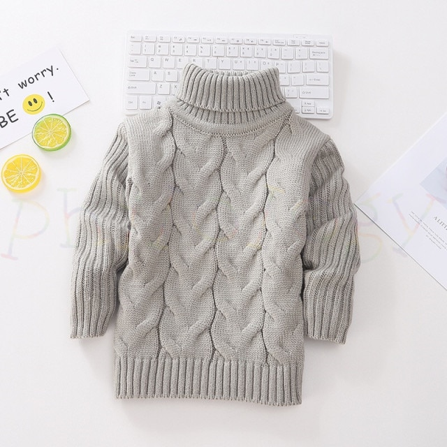 PHILOLOGY 2T 8T pure color winter boy girl kid thick Knitted bottoming turtleneck shirts solid high collar pullover sweater knitted kids pullover sweater boy sweaters knitgirls kids sweater – Single layer gray 19