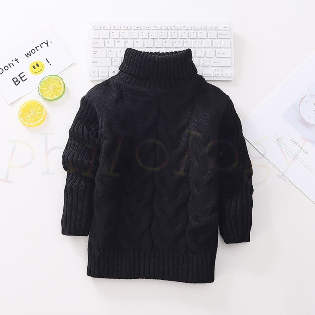 PHILOLOGY 2T 8T pure color winter boy girl kid thick Knitted bottoming turtleneck shirts solid high collar pullover sweater knitted kids pullover sweater boy sweaters knitgirls kids sweater – Single layer black 20