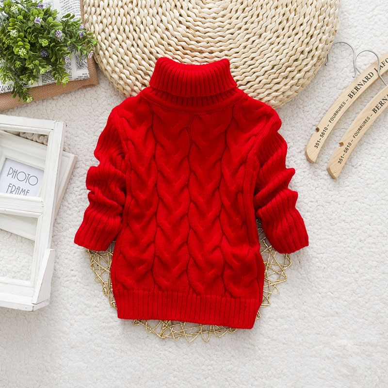 PHILOLOGY 2T 8T pure color winter boy girl kid thick Knitted bottoming turtleneck shirts solid high collar pullover sweater knitted kids pullover sweater boy sweaters knitgirls kids sweater 3