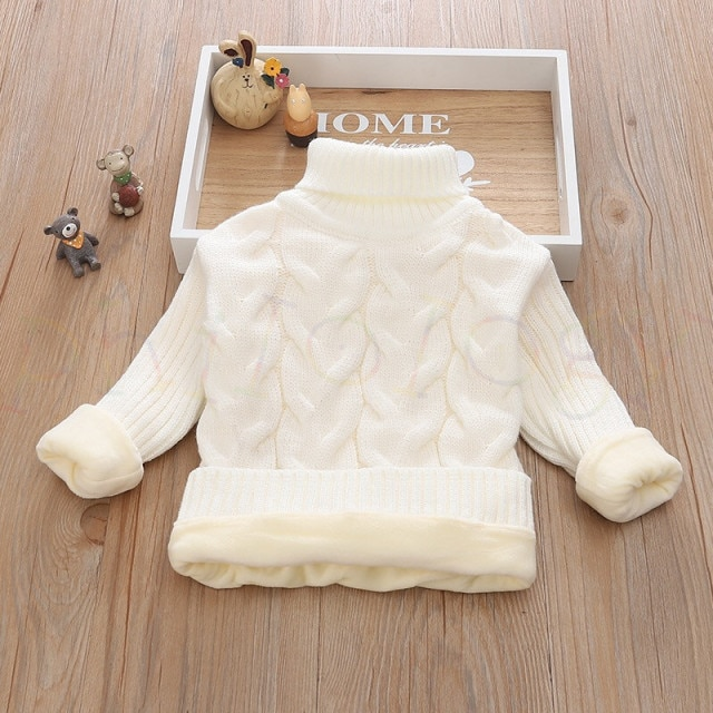 PHILOLOGY 2T 8T pure color winter boy girl kid thick Knitted bottoming turtleneck shirts solid high collar pullover sweater knitted kids pullover sweater boy sweaters knitgirls kids sweater – plush inside white 9