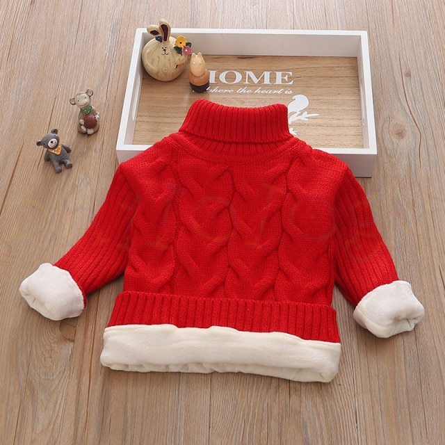 PHILOLOGY 2T 8T pure color winter boy girl kid thick Knitted bottoming turtleneck shirts solid high collar pullover sweater knitted kids pullover sweater boy sweaters knitgirls kids sweater – plush inside red 10