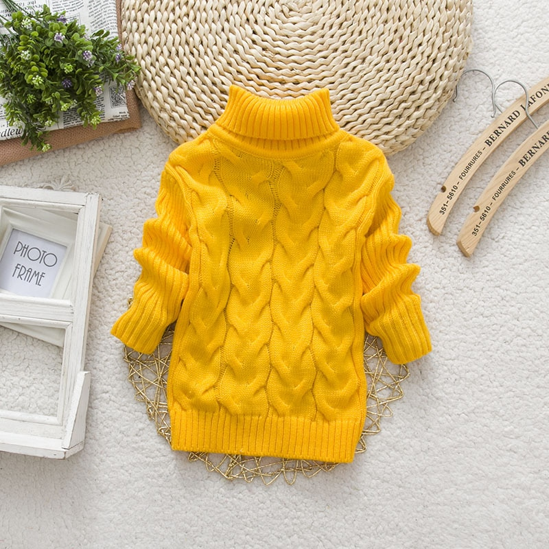 PHILOLOGY 2T 8T pure color winter boy girl kid thick Knitted bottoming turtleneck shirts solid high collar pullover sweater knitted kids pullover sweater boy sweaters knitgirls kids sweater 5