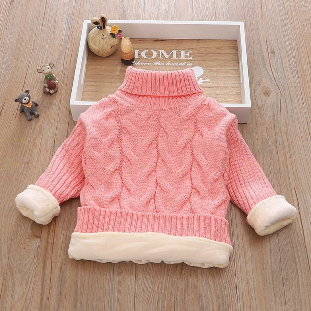 PHILOLOGY 2T 8T pure color winter boy girl kid thick Knitted bottoming turtleneck shirts solid high collar pullover sweater knitted kids pullover sweater boy sweaters knitgirls kids sweater – plush inside pink 11