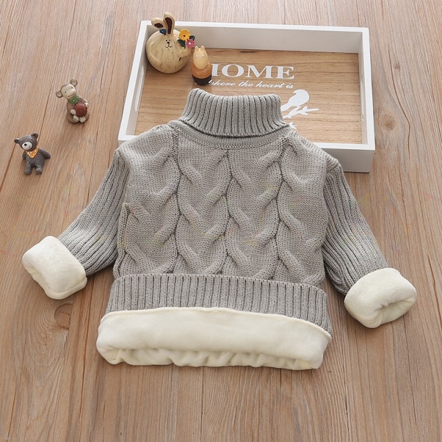 PHILOLOGY 2T 8T pure color winter boy girl kid thick Knitted bottoming turtleneck shirts solid high collar pullover sweater knitted kids pullover sweater boy sweaters knitgirls kids sweater – plush inside gray 12