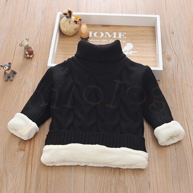 PHILOLOGY 2T 8T pure color winter boy girl kid thick Knitted bottoming turtleneck shirts solid high collar pullover sweater knitted kids pullover sweater boy sweaters knitgirls kids sweater – plush inside black 13