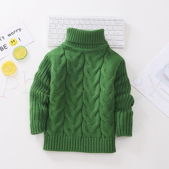 PHILOLOGY 2T 8T pure color winter boy girl kid thick Knitted bottoming turtleneck shirts solid high collar pullover sweater knitted kids pullover sweater boy sweaters knitgirls kids sweater – Single layer green 14