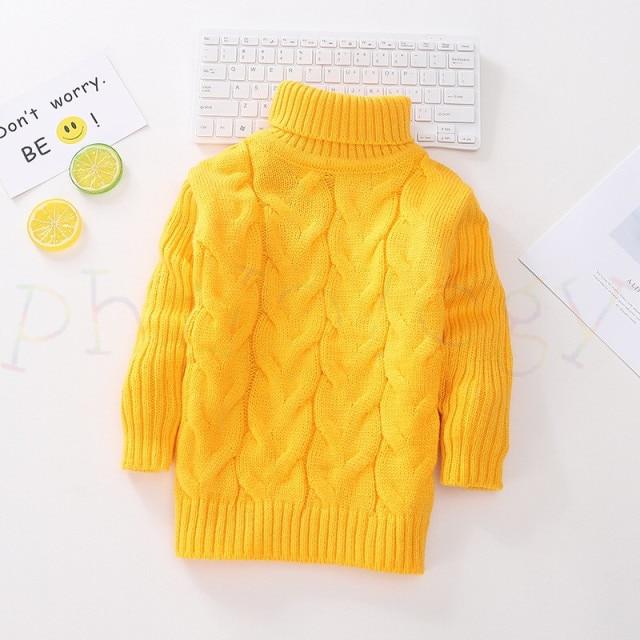 PHILOLOGY 2T 8T pure color winter boy girl kid thick Knitted bottoming turtleneck shirts solid high collar pullover sweater knitted kids pullover sweater boy sweaters knitgirls kids sweater – Single layer gold 15