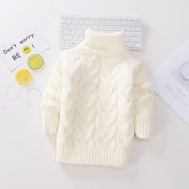 PHILOLOGY 2T 8T pure color winter boy girl kid thick Knitted bottoming turtleneck shirts solid high collar pullover sweater knitted kids pullover sweater boy sweaters knitgirls kids sweater – Single layer white 16