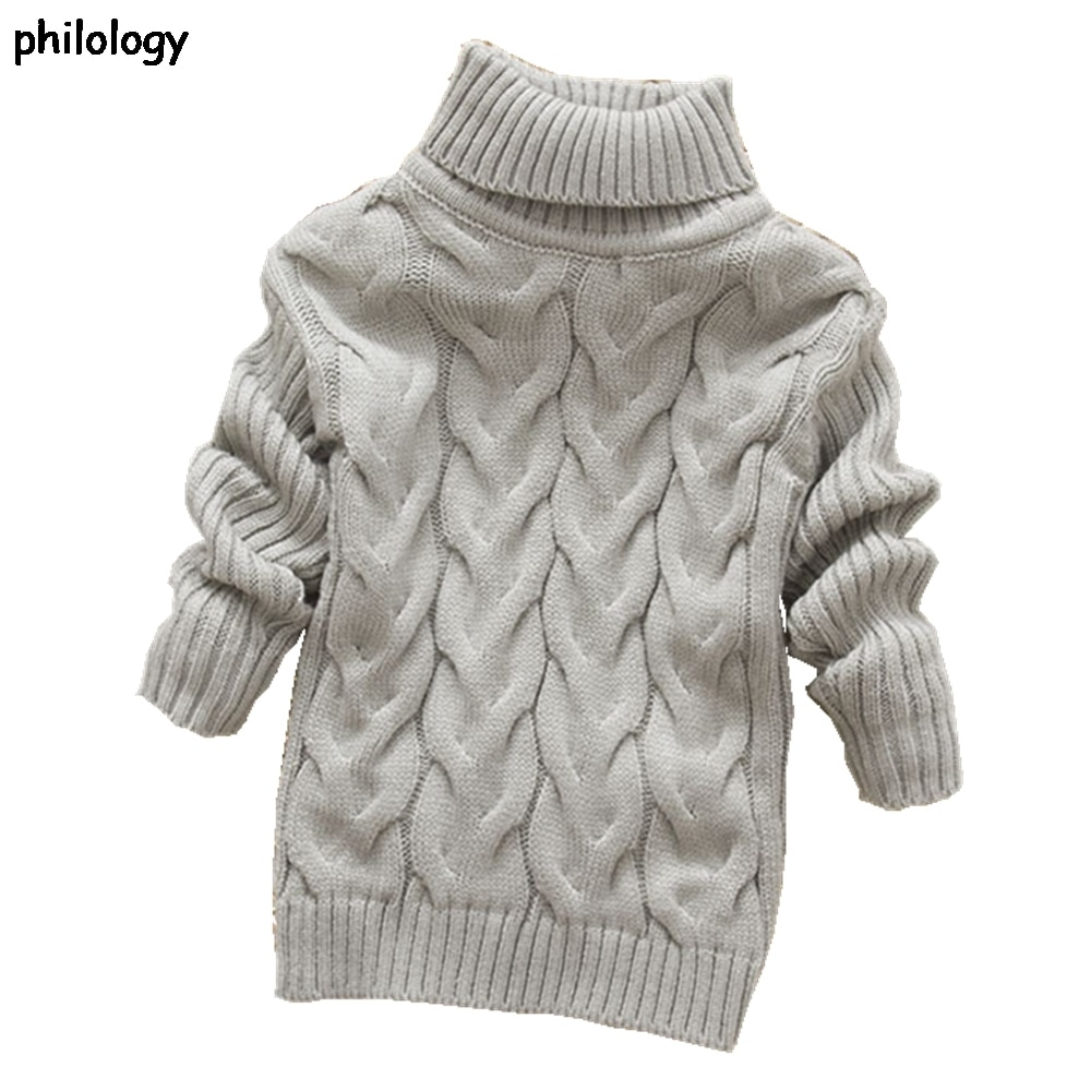 PHILOLOGY 2T 8T pure color winter boy girl kid thick Knitted bottoming turtleneck shirts solid high collar pullover sweater knitted kids pullover sweater boy sweaters knitgirls kids sweater 1