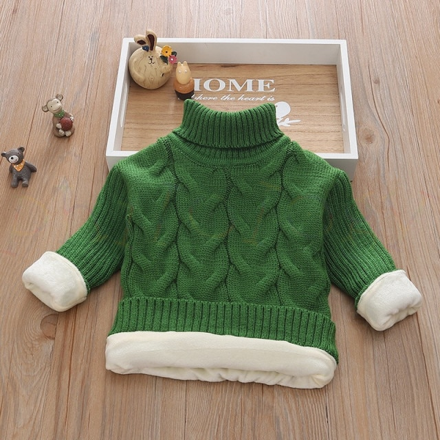 PHILOLOGY 2T 8T pure color winter boy girl kid thick Knitted bottoming turtleneck shirts solid high collar pullover sweater knitted kids pullover sweater boy sweaters knitgirls kids sweater – plush inside green 7
