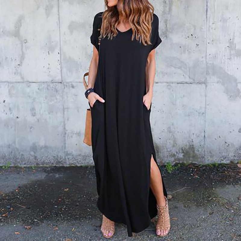 Plus Size 5XL Sexy Women Dress Summer 2020 Solid Casual Short Sleeve Maxi Dress For Women Long Dress Free Shipping Lady Dresses|Dresses| 2