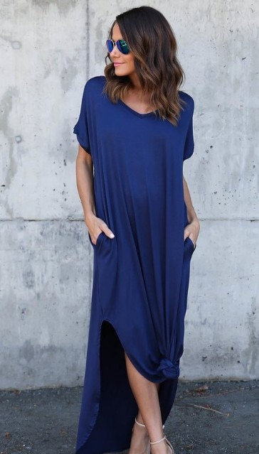 Plus Size 5XL Sexy Women Dress Summer 2020 Solid Casual Short Sleeve Maxi Dress For Women Long Dress Free Shipping Lady Dresses|Dresses| – Royal Blue 8