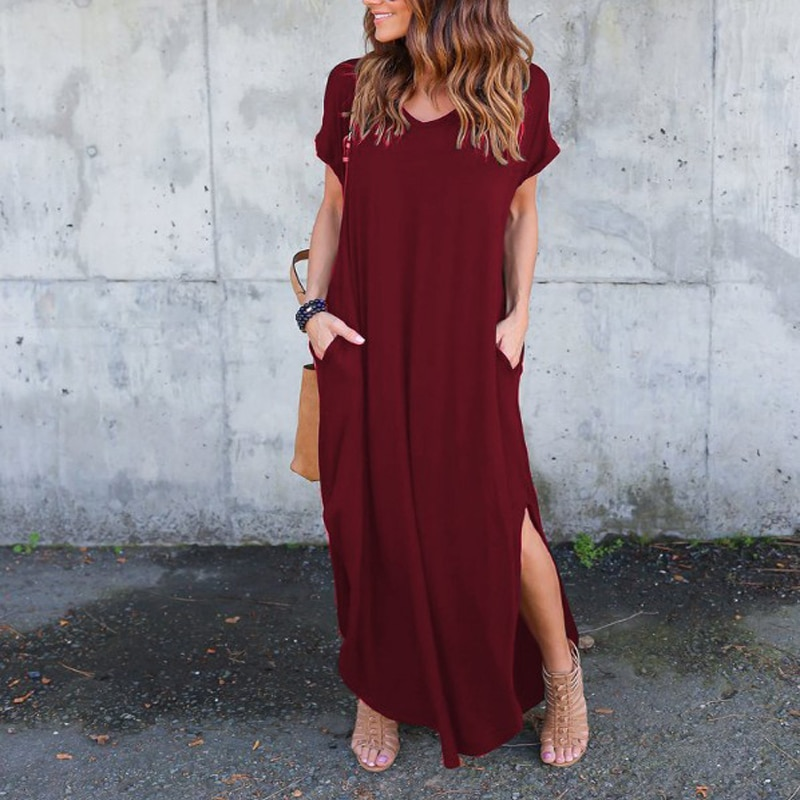 Plus Size 5XL Sexy Women Dress Summer 2020 Solid Casual Short Sleeve Maxi Dress For Women Long Dress Free Shipping Lady Dresses|Dresses| 3