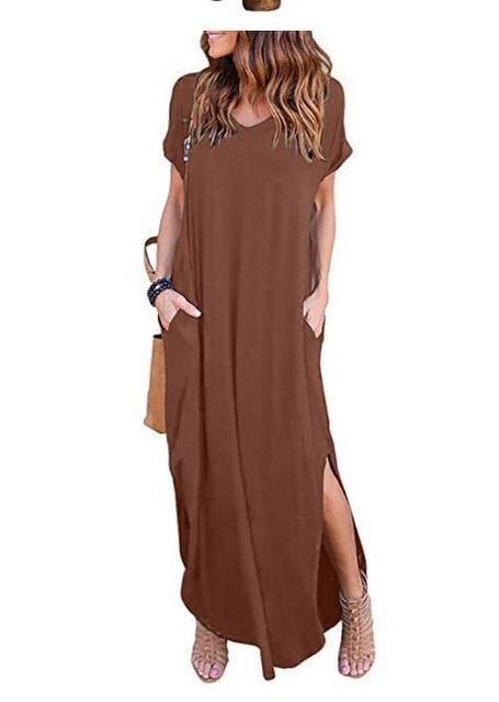 Plus Size 5XL Sexy Women Dress Summer 2020 Solid Casual Short Sleeve Maxi Dress For Women Long Dress Free Shipping Lady Dresses|Dresses| – Brown 9