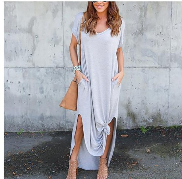 Plus Size 5XL Sexy Women Dress Summer 2020 Solid Casual Short Sleeve Maxi Dress For Women Long Dress Free Shipping Lady Dresses|Dresses| – Gray 10
