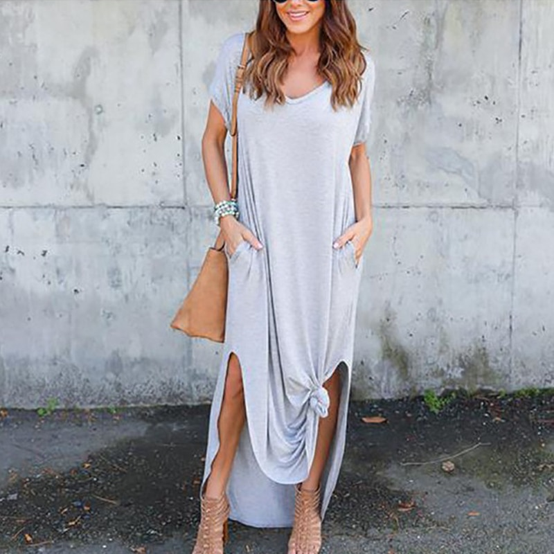 Plus Size 5XL Sexy Women Dress Summer 2020 Solid Casual Short Sleeve Maxi Dress For Women Long Dress Free Shipping Lady Dresses|Dresses| 5
