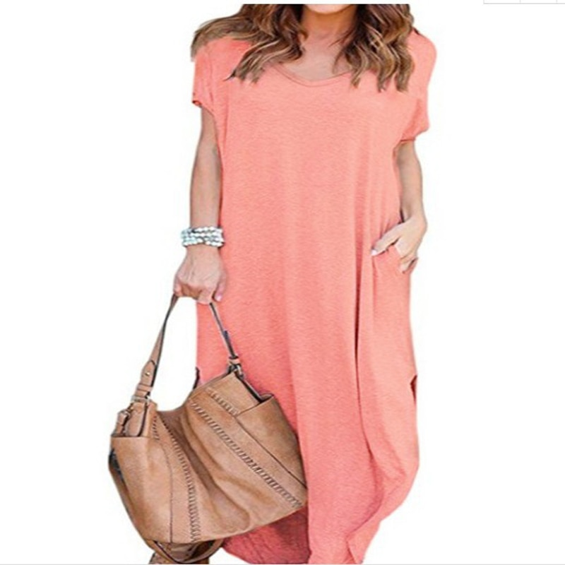 Plus Size 5XL Sexy Women Dress Summer 2020 Solid Casual Short Sleeve Maxi Dress For Women Long Dress Free Shipping Lady Dresses|Dresses| 6